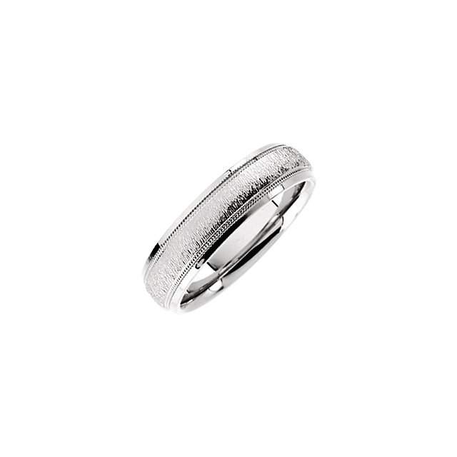 14K White Comfort-Fit 6mm Milgrain Band with Florentine Finish Size 8.5