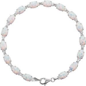 14K White Lab-Grown Opal Line Bracelet
