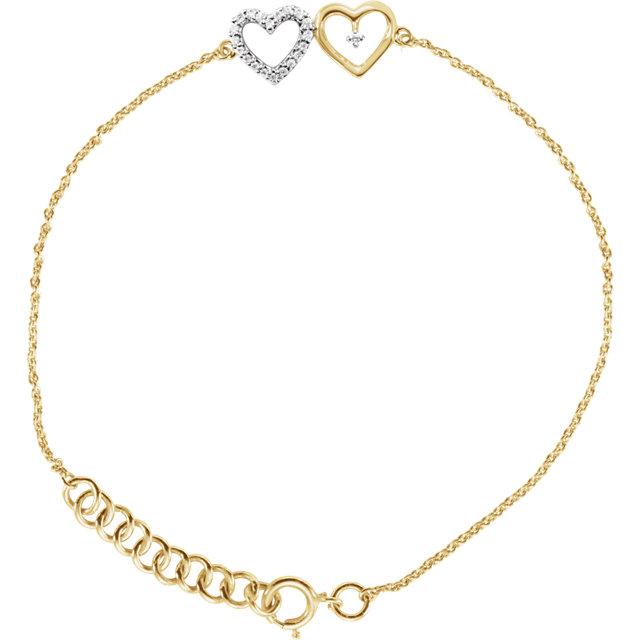10K Yellow .07 CTW Diamond Double Heart 7