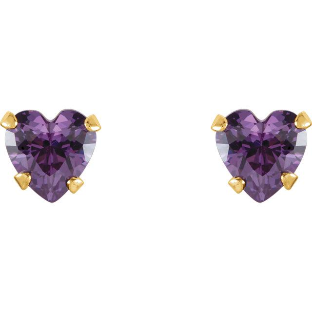 14K Yellow 4x4 mm Heart Amethyst Youth Stud Earrings