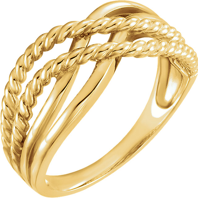 14K Yellow Crossover Rope Design Ring