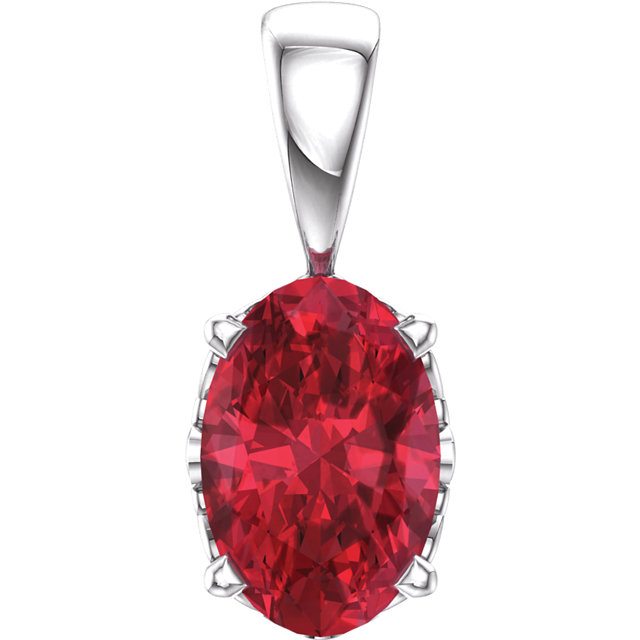 14K White Chatham® Created Ruby Pendant