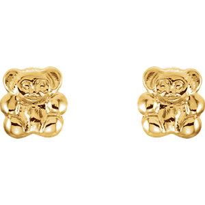14K Yellow Youth Teddy Bear Earrings