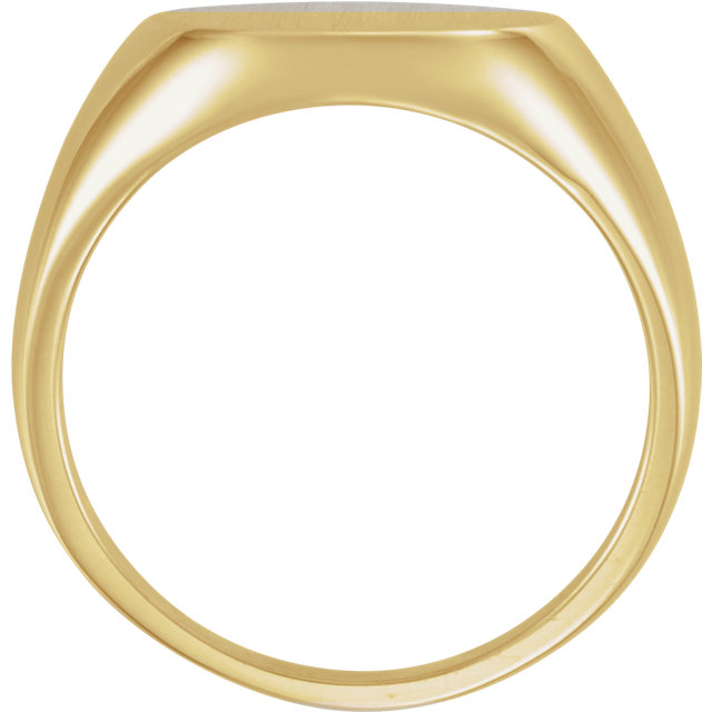 18K Yellow 15mm Men-s Signet Ring with Brush Finish