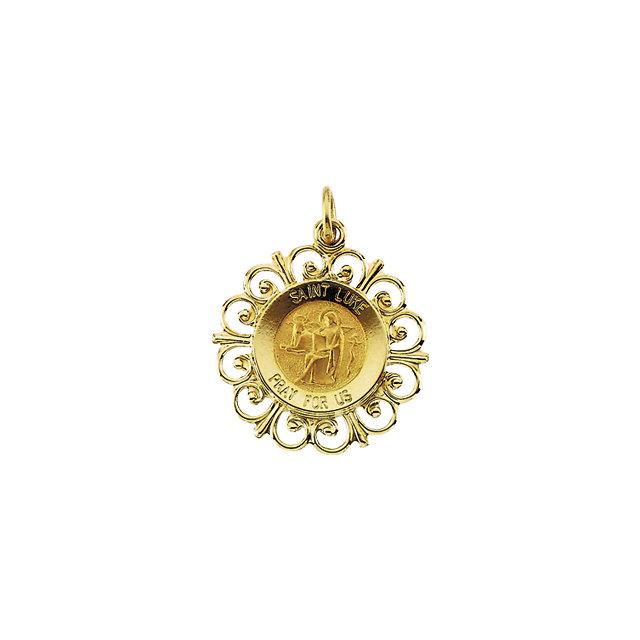 14K Yellow 18 mm Round St. Luke Medal