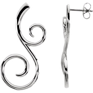Sterling Silver & 14K White Scroll Fashion Earrings