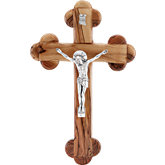 Roman Style Olive Wood & Pewter Wall Crucifix