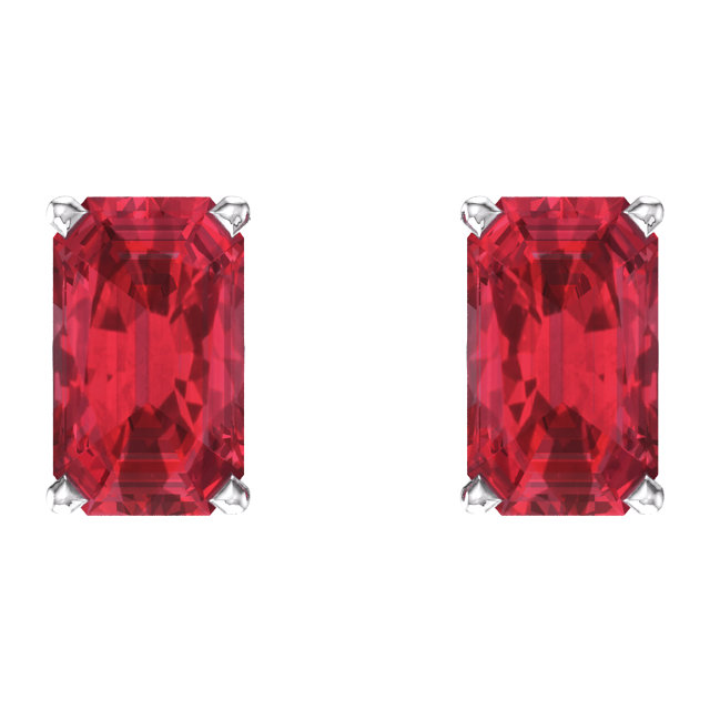 14K White Chatham® Created Ruby Earrings