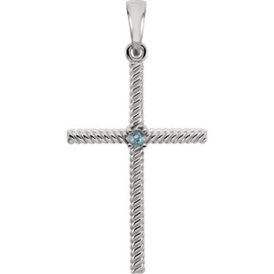 14K White Swiss Blue Topaz 31.95x16.3mm Rope Design Cross Pendant