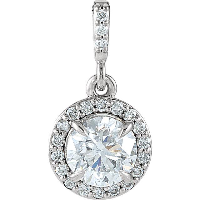 14K White 9/10 CTW Diamond Halo-Style Pendant