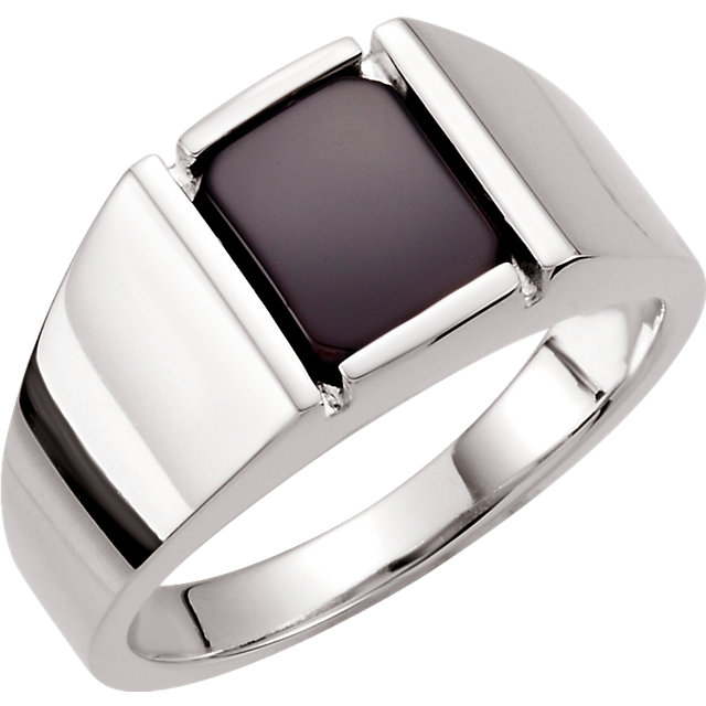 Sterling Silver Men-s Onyx Ring