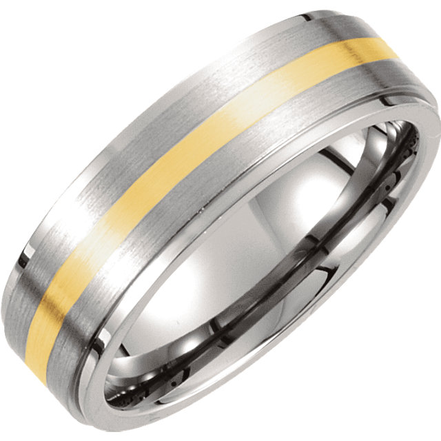 Titanium & 14K Yellow Inlay 7mm Ridged & Satin Finished Band Size 10.5