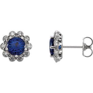 Earrings , 14K White Blue Sapphire & 1/3 CTW Diamond Earrings