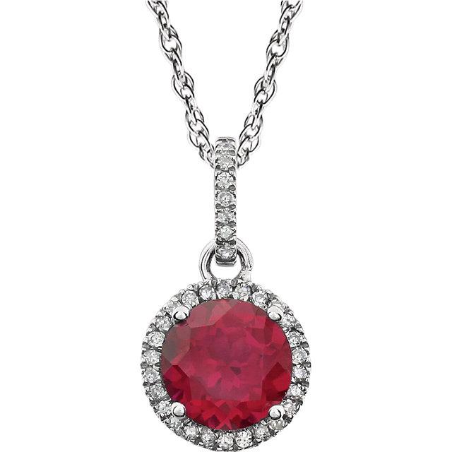 14K White Created Ruby & 1/10 CTW Diamond 18