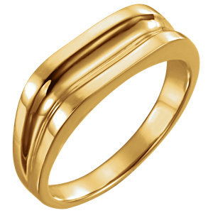 Fashion Rings , 14K Yellow Men's Grooved Ring