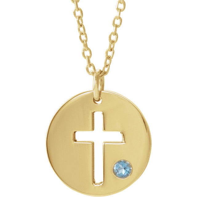 14K Yellow Aquamarine Pierced Cross Disc 16-18