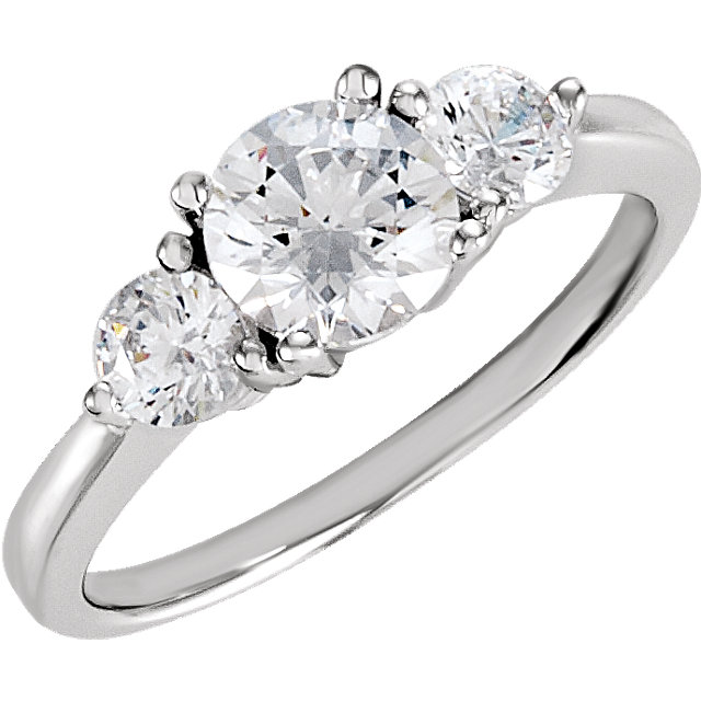 Sterling Silver Cubic Zirconia 3-Stone Ring Size 6