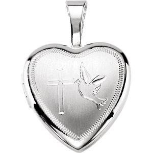 Sterling Silver Cross & Dove Heart Locket