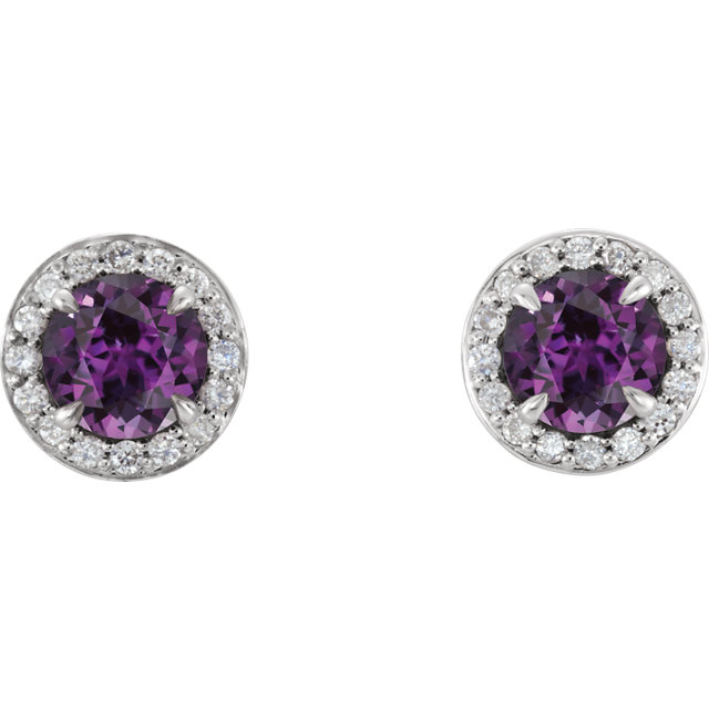 14K White 3.5 mm Round Chatham® Created Alexandrite & 1/6 CTW Diamond Earrings