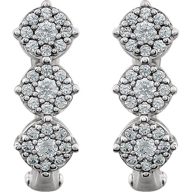 14K White 1/2 CTW Diamond 3-Stone Earrings