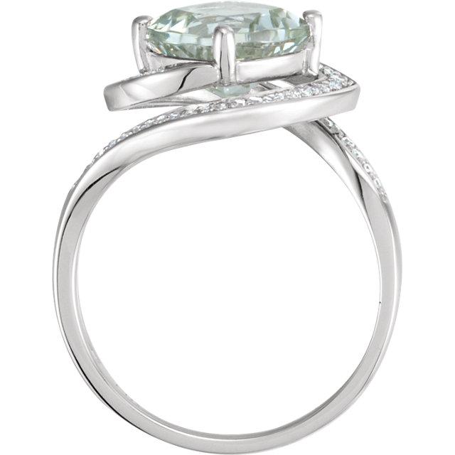 14K White Green Quartz & 1/6 CTW Diamond Ring