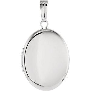 Sterling Silver 28.9x16mm Oval Locket