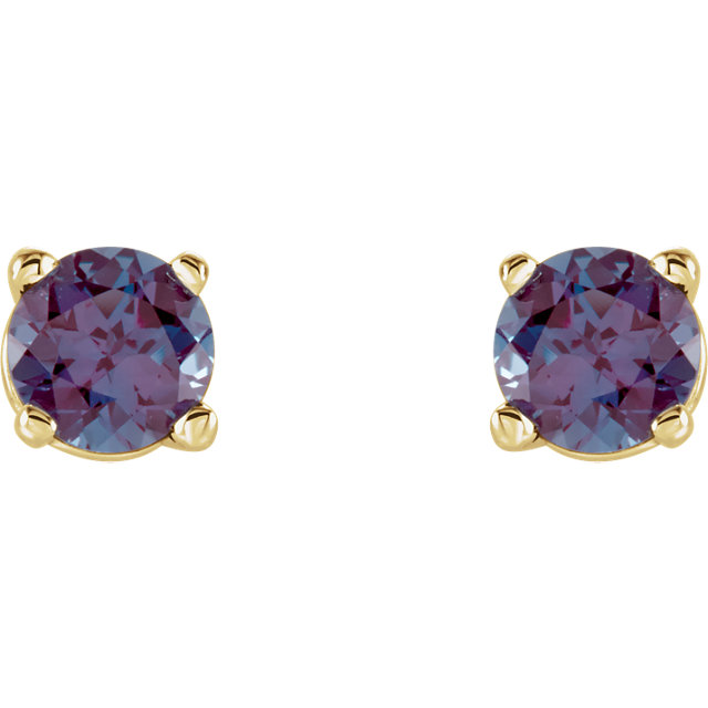 14K Yellow 4 mm Round Chatham® Created Alexandrite Earrings