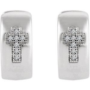 Sterling Silver .05 CTW Diamond Cross Hoop Earrings