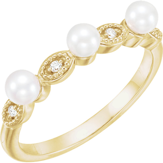 14K Yellow Freshwater Cultured Pearl & .03 CTW  Diamond Stackable Ring