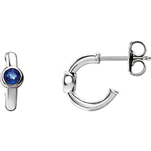 14K White Blue Sapphire J-Hoop Earrings