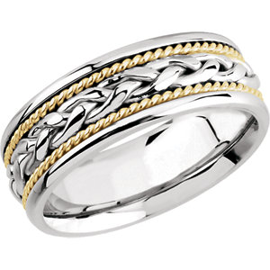 14K White & Yellow 8mm Comfort-Fit Woven Band Size 8