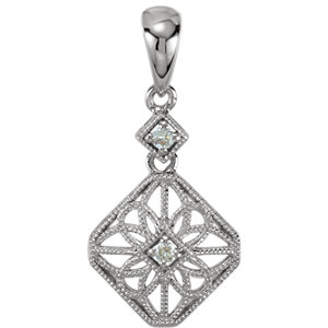 14K White .06 CTW Diamond Filigree Pendant