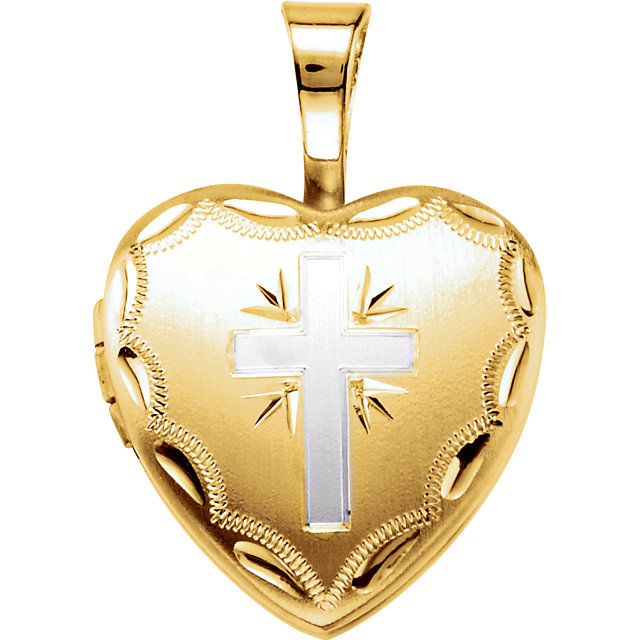 14K Yellow Gold-Plated Sterling Silver Heart Cross Locket