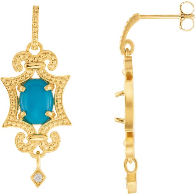 14K Yellow Turquoise & .03 CTW Diamond Earrings