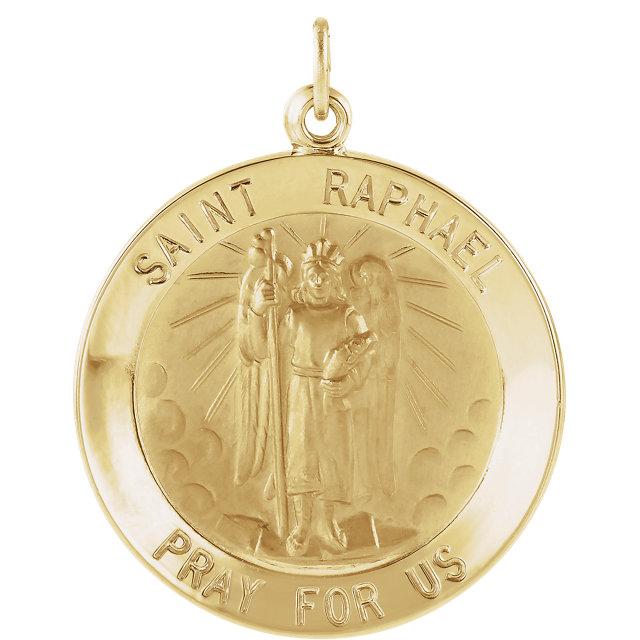 14K Yellow 22 mm Round St. Raphael Medal