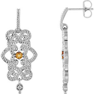 Earrings , 14K White Citrine & .03 CTW Diamond Granulated Design Dangle Earrings