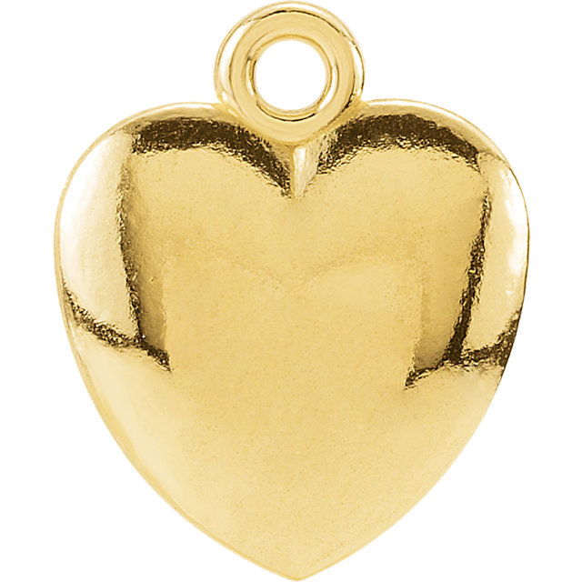 14K Yellow 10.85x8.9 mm Puffed Heart Charm