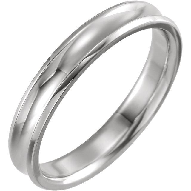 14K White 4 mm Beveled-Edge Concave Band Size 10.5