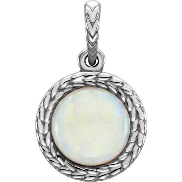 14K White Opal Pendant