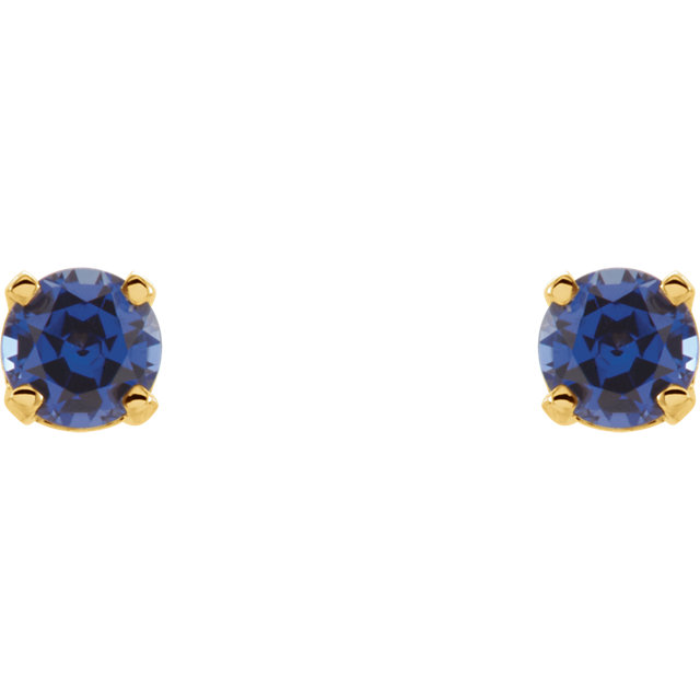 14K Yellow 3 mm Round Blue Sapphire Youth Birthstone Earrings