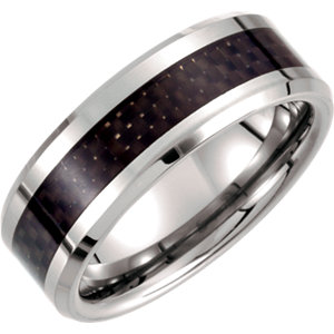 White Tungsten 8mm Beveled Band with Black Carbon Fiber Center Size 14