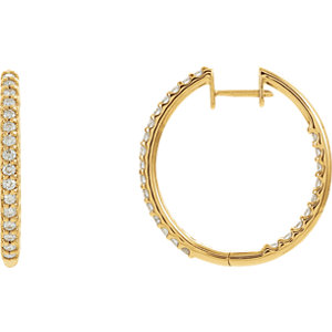 14K Yellow 1 CTW Diamond Hinged Inside-Outside Hoop Earrings