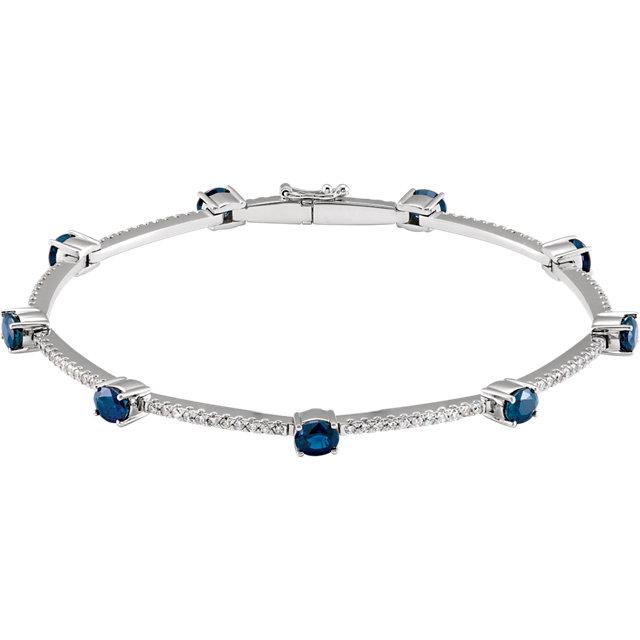 14K White Sapphire & 3/4 CTW Diamond Line Bracelet
