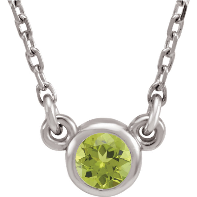 Sterling Silver 4 mm Round Imitation Peridot Bezel-Set Solitaire 16