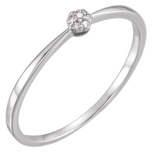 14K White .025 CTW Diamond Ring