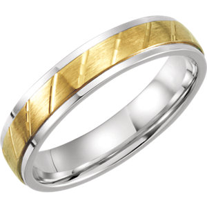 Sterling Silver & 10K Yellow 5mm Precious Bond Design Band Size 7