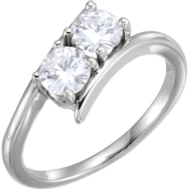 14K White 5mm Round Forever One™ Moissanite Ring