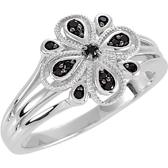 Floral-Inspired Black Spinel Ring with Split Shank