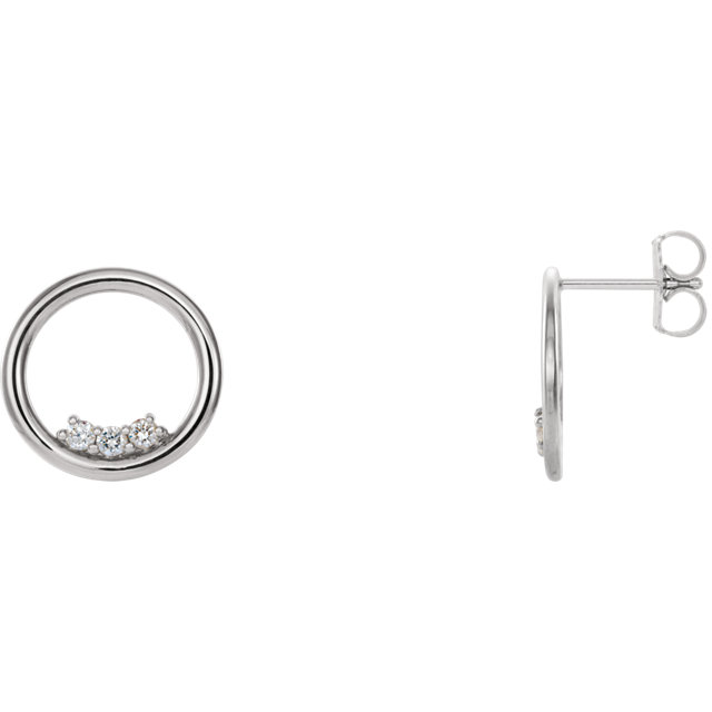 Sterling Silver 1/6 CTW Diamond Circle Earrings