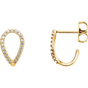 14K Yellow 1/5 CTW Diamond Geometric J-Hoop Earrings